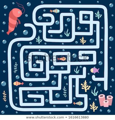 Sub apă peşte labirint joc sablon ilustrare Imagine de stoc © colematt