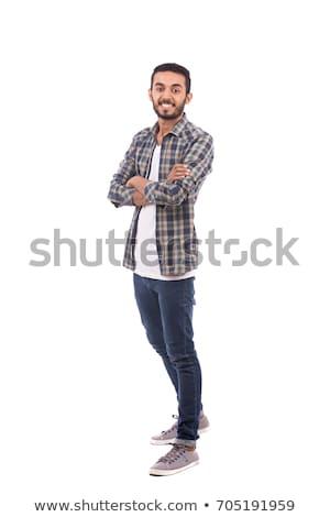 portré · jóképű · indiai · fiatalember · szürke · mosoly - stock fotó © lopolo
