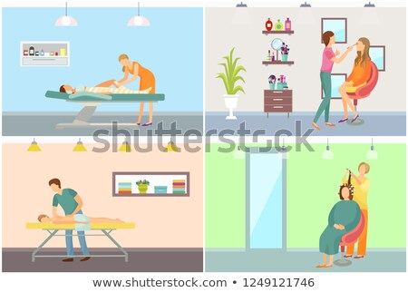 Spa Salon Body Wrapping Hairstyling Vector Posters Stock photo © robuart