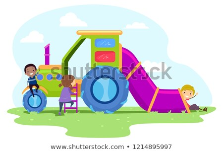 stickman kids farm truck playground illustration stock photo © lenm