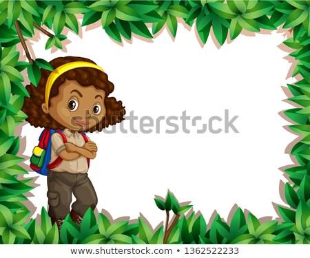 Lány kártya levél keret illusztráció gyerekek Stock fotó © bluering