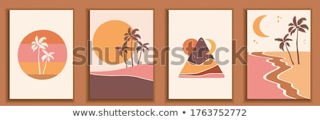 szett · tengerpart · jelenet · illusztráció · ház · autó - stock fotó © colematt
