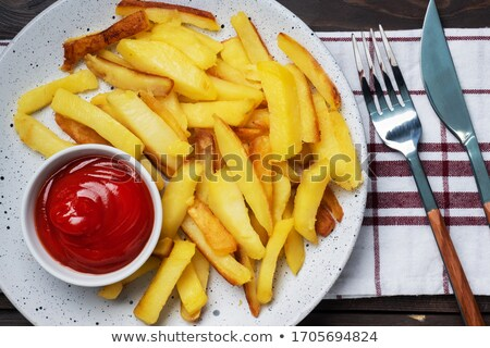 Patates kızartması ketçap domates sosu seramik Stok fotoğraf © LoopAll