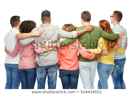 Group of happy different women in white hugging over white backg Stock photo © dashapetrenko