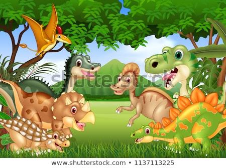 恐竜 森 シーン 実例 ツリー 森林 ストックフォト © bluering