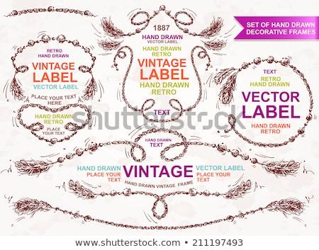 Hippie hand drawn vector doodles illustration. Hippy frame card design. Stock photo © balabolka