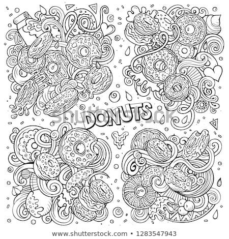 Line art vector hand drawn doodles cartoon set of Donuts combinations of objects Stock photo © balabolka