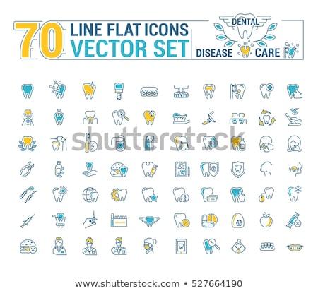 dental · dentes · vetor · ícone · fino · linha - foto stock © pikepicture