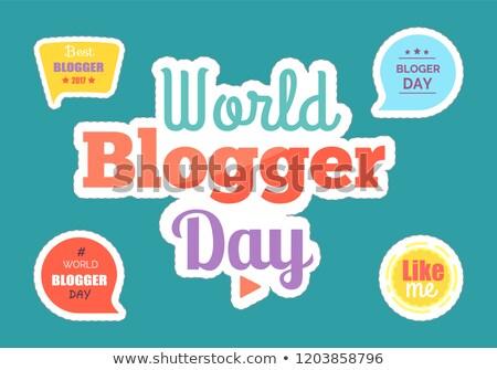 świat blogger dzień naklejki pola zestaw Zdjęcia stock © robuart