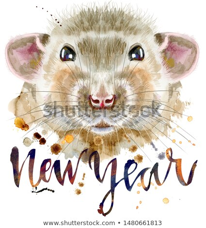 Watercolor portrait of rat with the inscription new year and splashes Stock photo © Natalia_1947