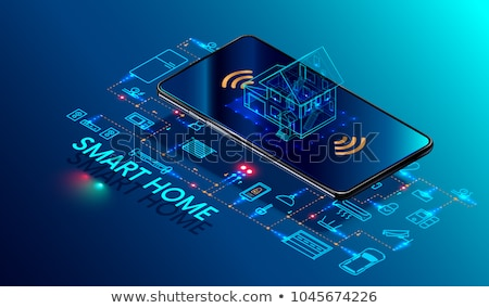 hands with smart home icons on tablet computer Stock photo © dolgachov