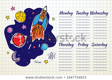 Schule Zeitplan Raum Grafik Doodle Rakete Stock foto © ikopylov