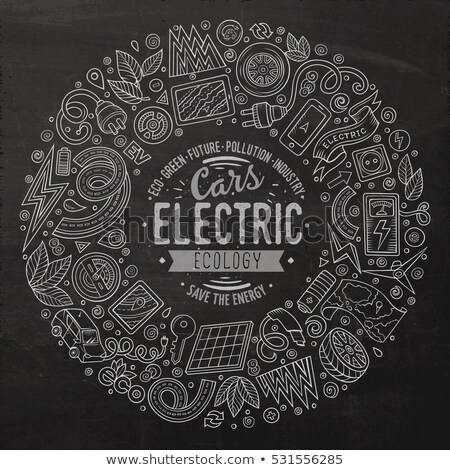 Cartoon doodles electric cars frame design Stock photo © balabolka