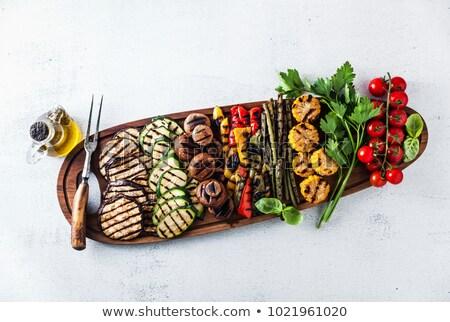 Gegrild groenten houten dienblad top Stockfoto © Alex9500