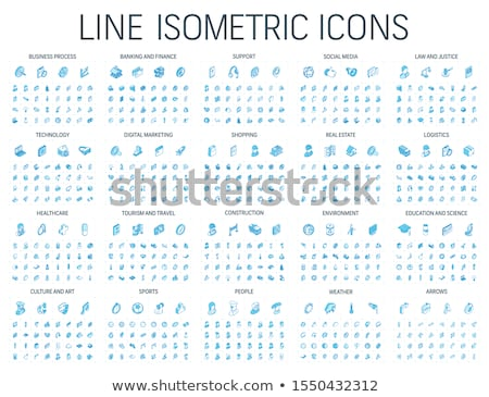 Office and technology - vector isometric icons set Stock photo © Decorwithme