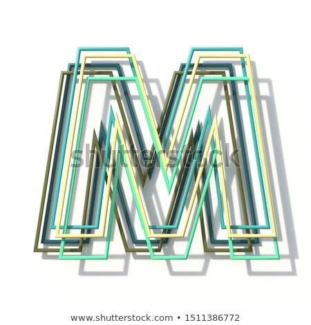 three colors line font letter m 3d stock photo © djmilic