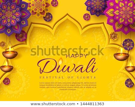 yellow diwali festival banner with hanging diya lamps stock photo © sarts