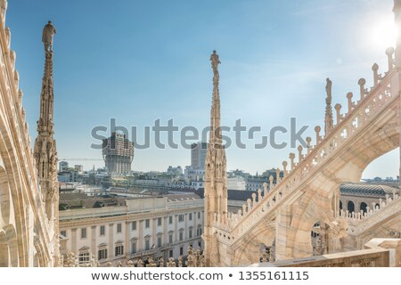 View from roof of Duomo to spires with statues and sity of Milan Stock photo © vapi