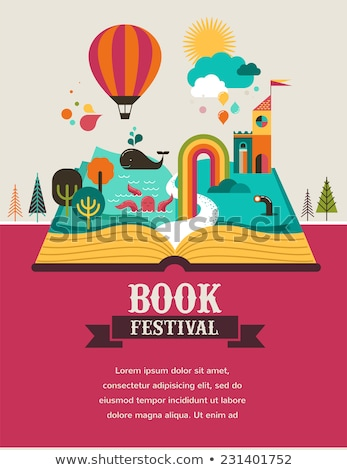 Foto stock: Fairy Tale Open Book Illustration Set Of Vector Drawing