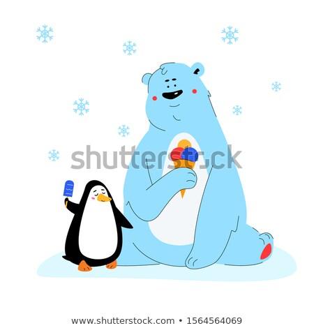 Ours polaire pingouin manger crème glacée design style Photo stock © Decorwithme