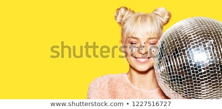 Mooie jong meisje Geel trui disco ball Stockfoto © dashapetrenko