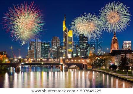 Vuurwerk Frankfurt skyline nacht water gebouw Stockfoto © manfredxy
