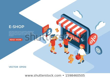 Eshop store isometric icons digital vector Stock photo © frimufilms