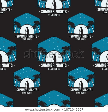 Surfing adventure seamless pattern with surfboard and waves scene labels badges. Summer nights star  Stock photo © JeksonGraphics