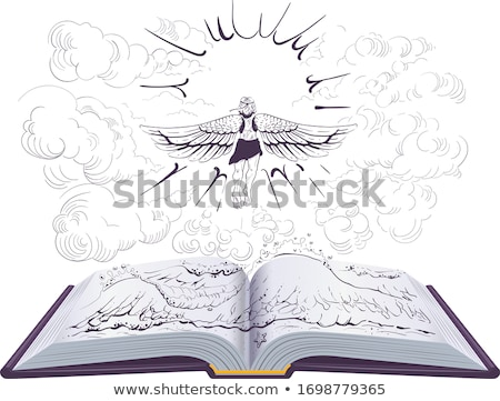 Icarus flies to sun open book illustration ancient Greek legend Stock photo © orensila