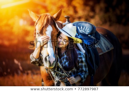 Beautiful woman with horse in countryside Stock photo © deandrobot