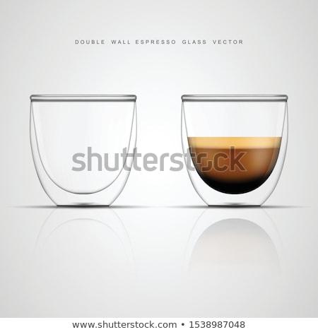 Café expreso vidrio taza doble granos de café Foto stock © grafvision