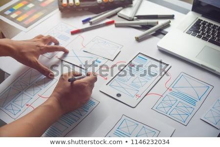 Team gebruiker ervaring ontwerper creatieve grafische Stockfoto © snowing
