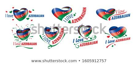 The national flag of the Azerbaijan and the inscription I love Azerbaijan. Vector illustration Stock photo © butenkow
