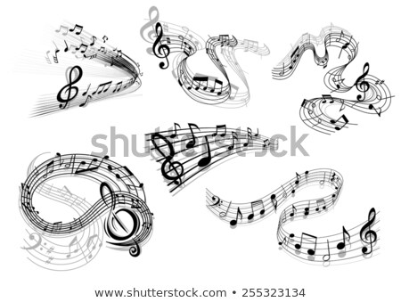Musical notes on stave in different shapes, design elements on white Stock photo © evgeny89
