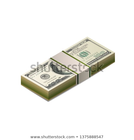 Pack of dummy one hundred US dollars banknote from front side in isometric view on white Stock photo © evgeny89