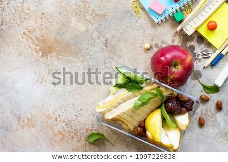 Iskola ebéd doboz oktatás irodaszer kő Stock fotó © karandaev