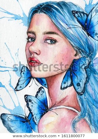 belo · borboleta · retrato · néctar · floresta · folha - foto stock © ivanhor