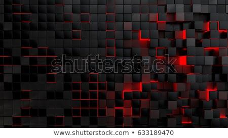 Zwarte 3D futuristische kubus abstractie Blauw Stockfoto © FransysMaslo