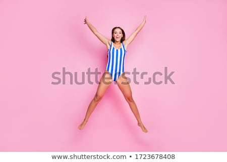 Atlama güzellik yalınayak esmer yüz kadın Stok fotoğraf © Paha_L