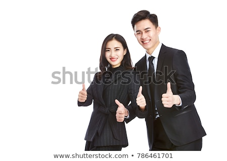 fiatal · ázsiai · nő · mutat · hüvelykujj · felfelé - stock fotó © williv