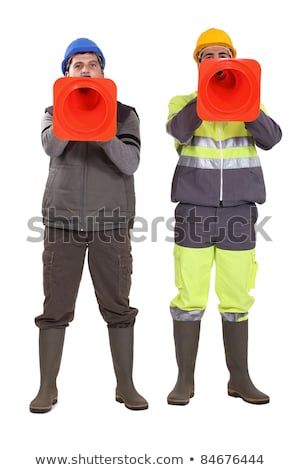 Tradesmen using pylons as megaphones Stock photo © photography33