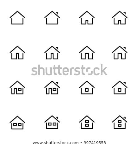 家 ホーム アイコン ボタン 不動産 青 ストックフォト © stuartmiles