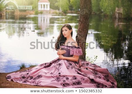 Portrait of attractive lady in 19th century clothes Stock photo © zastavkin