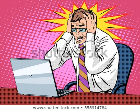 furioso · homem · computador · problemas · isolado · branco - foto stock © smithore