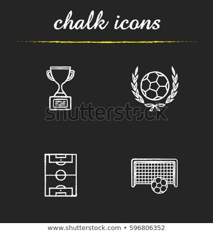Krijttekening doel voetbal houten Blackboard textuur Stockfoto © bbbar