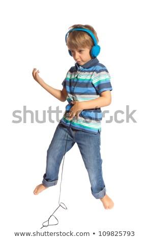 мальчика играет воздуха гитаре танцы счастливым Сток-фото © g215