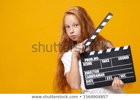 vörös · hajú · nő · tart · kamera · fotó · gyönyörű · női - stock fotó © sumners