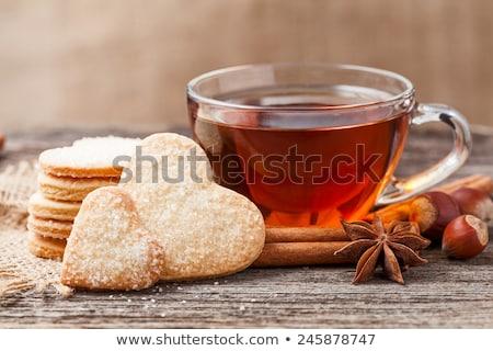 カップ 茶 ビスケット 青 時間 カフェ ストックフォト © haiderazim