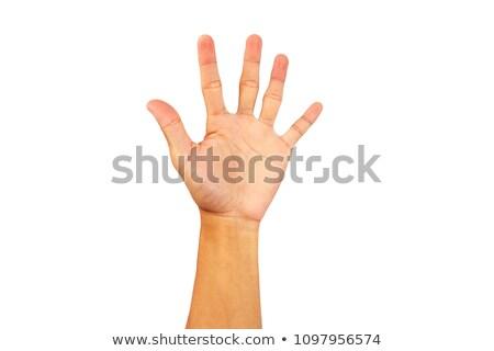 Asia hombre de negocios mano senal de stop blanco negocios Foto stock © posterize