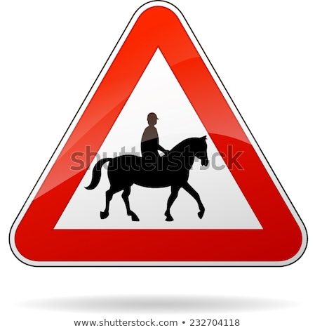 британский лошадей предупреждение дорожный знак знак шоссе Сток-фото © latent